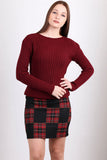 2910028 Black-Red Check Mini Skirt