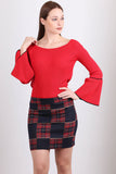 2910029 Navy Blue-Red Check Mini Skirt