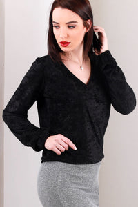 3020057 Black Velour Blouse