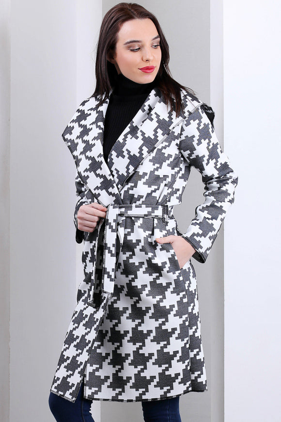 3510124 Grey Hooded Square Pattern Jacket