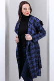 3510125 Blue Hooded Square Pattern Jacket