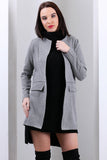 3510129 Grey Stitch Detail Long Jacket