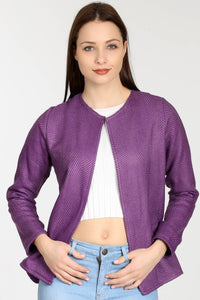 3510147 Purple Jacquard Buttonless Jacket
