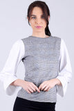 3020061 Black White Accordion Arm Blouse Blouse