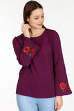 3020062 Purple Embroidered Blouse