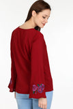 3020064 Bordeaux Embroidered Blouse