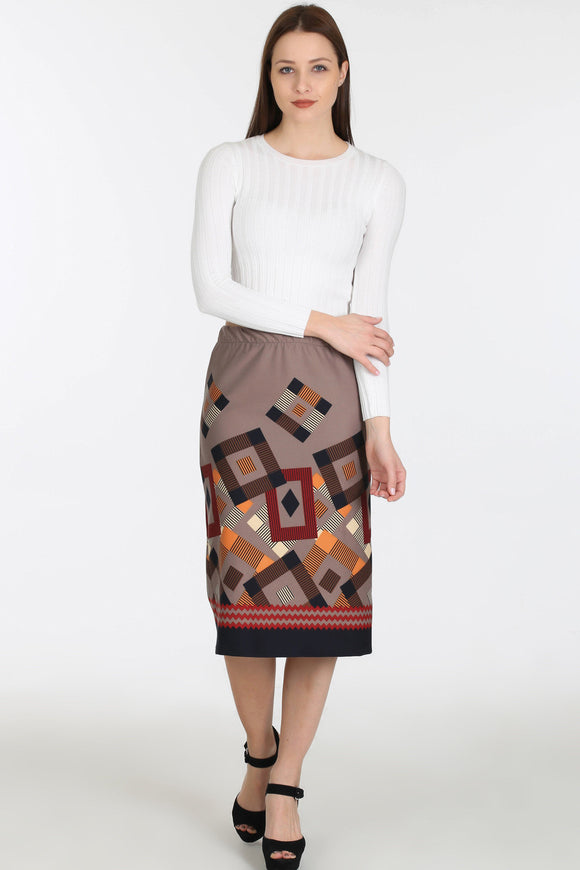2910041 Mink Geometric Midi Skirt