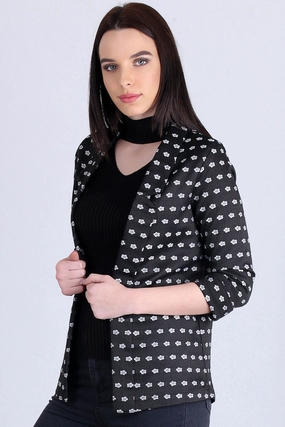 3510167 Black Folded Sleeve Jacket