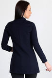 3510159 Navy Blue One-Button Long Jacket