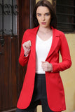 3510170 Red One-Button Long Jacket