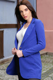 3510172 Blue One-Button Long Jacket