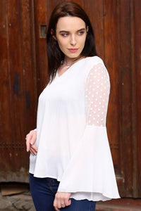 3020070 White Sheer Blouse