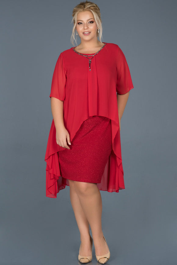 14413 red chiffon cape shimmer dress