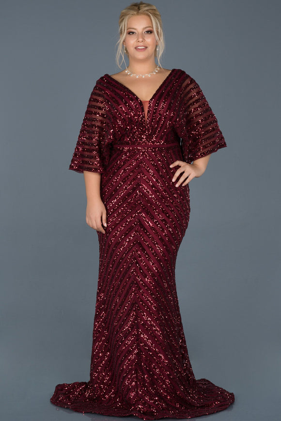 14035 Burgundy Batwing Sleeves Sequins Mermaid Dress
