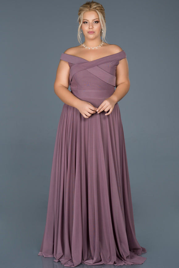 18175 Lavender-Dry Rose Off-Shoulder Lycra Tulle Dress