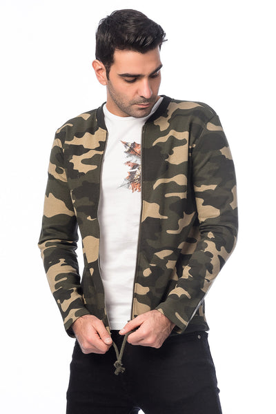 5112138 Green Camouflage Zip Sweater
