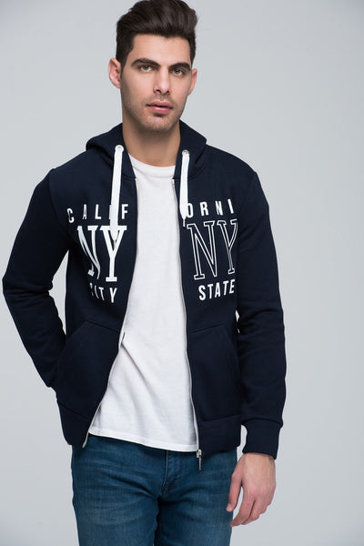 5112151 Navy Blue Printed Hooded Sweater