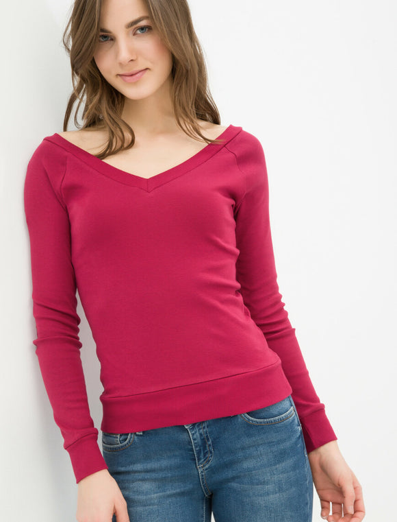 V Neck T-Shirt Wine