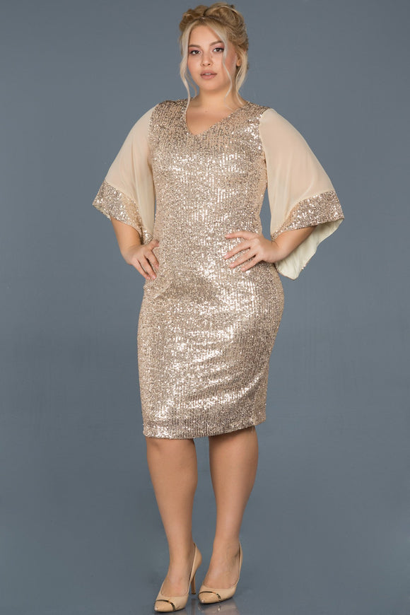 14408 mink chiffon sleeve sequins dress