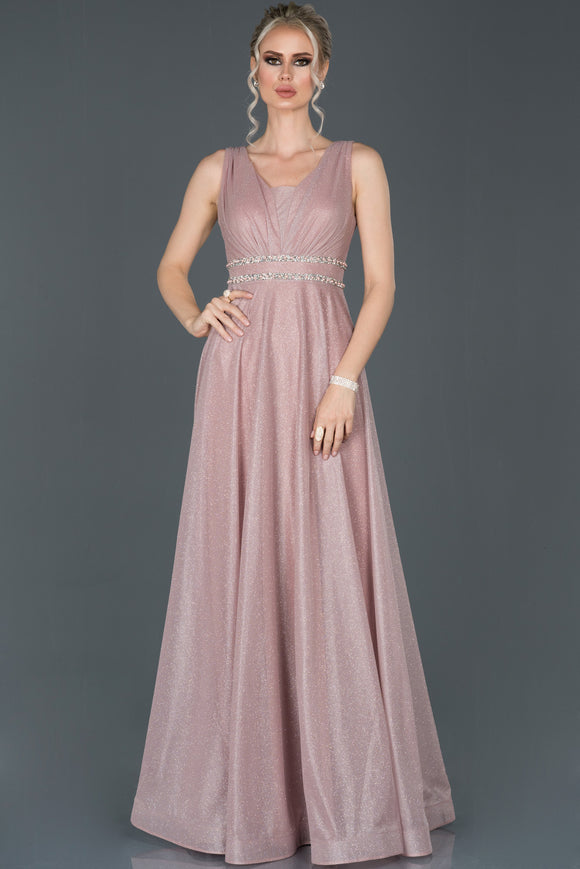 13980 Pink Silvery Sleeveless Plus Size Dress