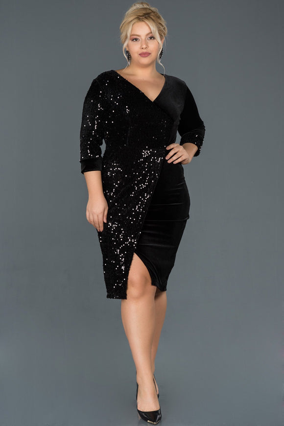 14417 black sequined velvet dress