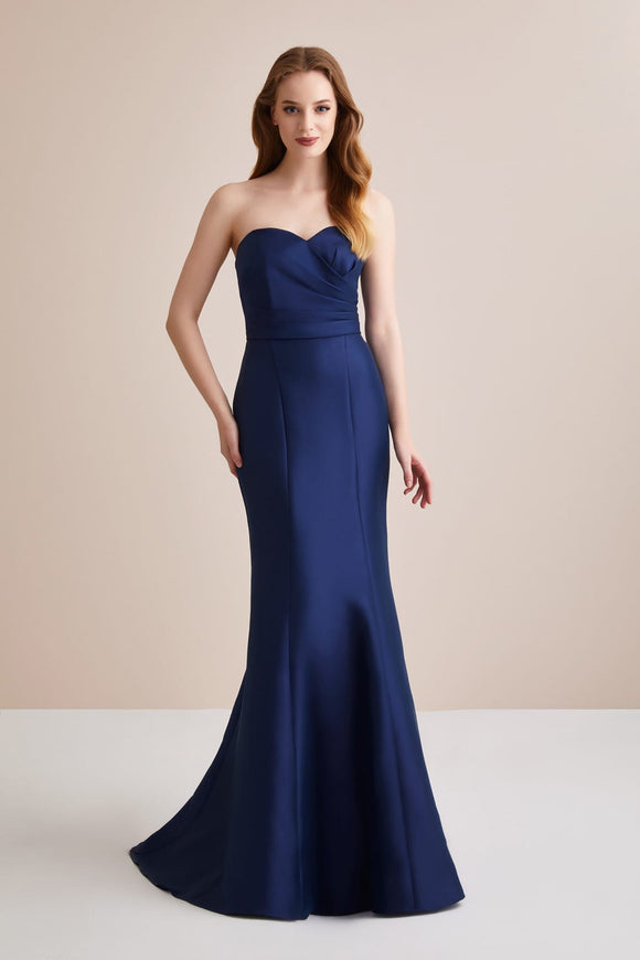 4858 Navy Blue Strapless Mermaid Dress
