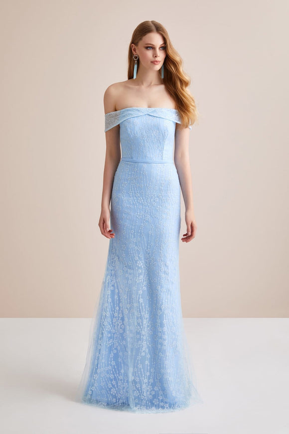 1341 Blue Off-Shoulder Lace Tulle Dress