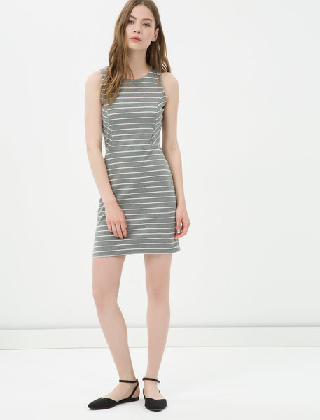 1212113 Grey Striped Pencil Dress
