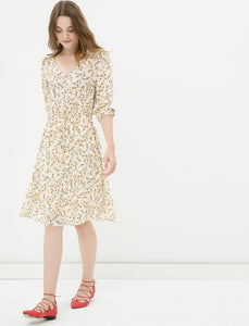 1212043 Fawn Floral Long Sleeve Dress