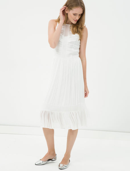 1212109 White Tulle Midi Dress