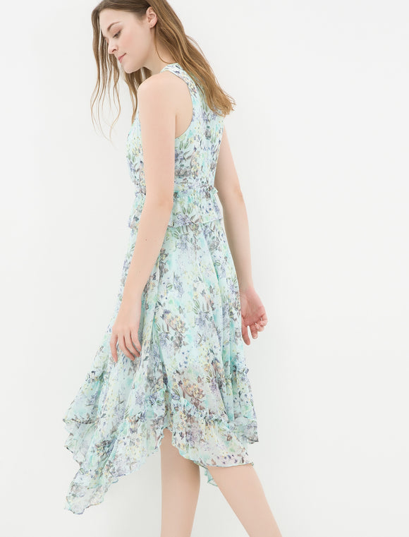 1212048 Green Floral Summer Dress