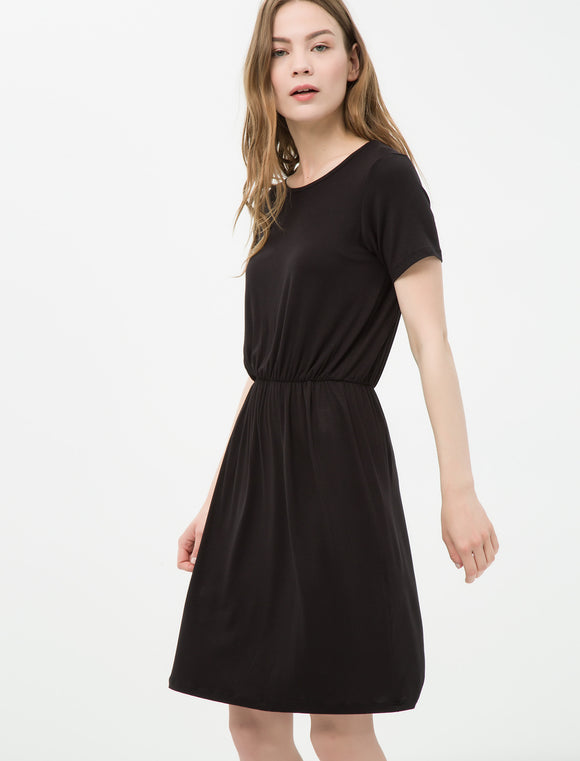 1212006 Black Crew Neck Midi Dress
