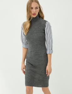 4512027 Grey Turtle Neck Sweater Dress