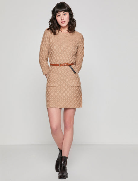 1212041 Camel Patterned Sweater Dress