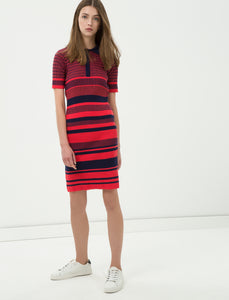 1212095 Red Striped Sweater Dress