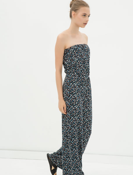 1212072 Navy Blue Floral Strapless Jumpsuit
