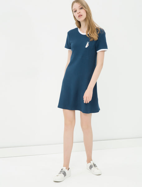 1212080 Navy Blue T-Shirt Dress