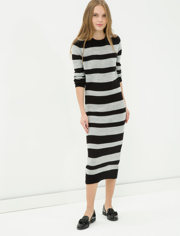 1212077 Navy Blue Striped Sweater Dress