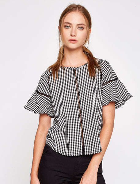 3050285 Black Check Zip Blouse