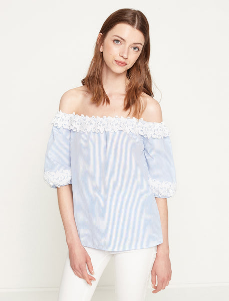 3050295 Blue Striped Lace Bardot Blouse