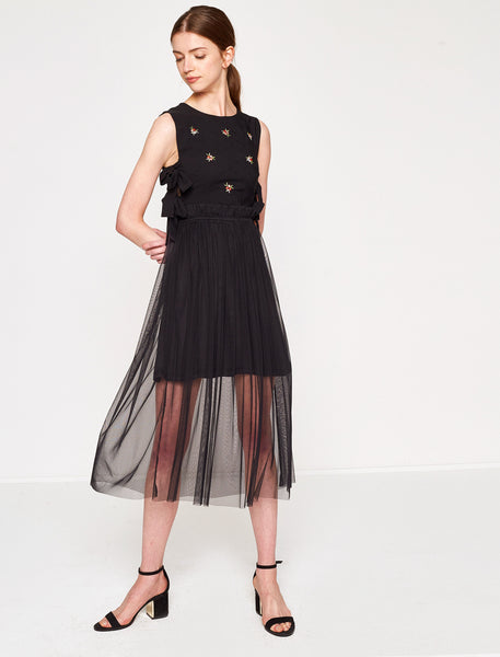 1212023 Black Tulle Embellished Dress