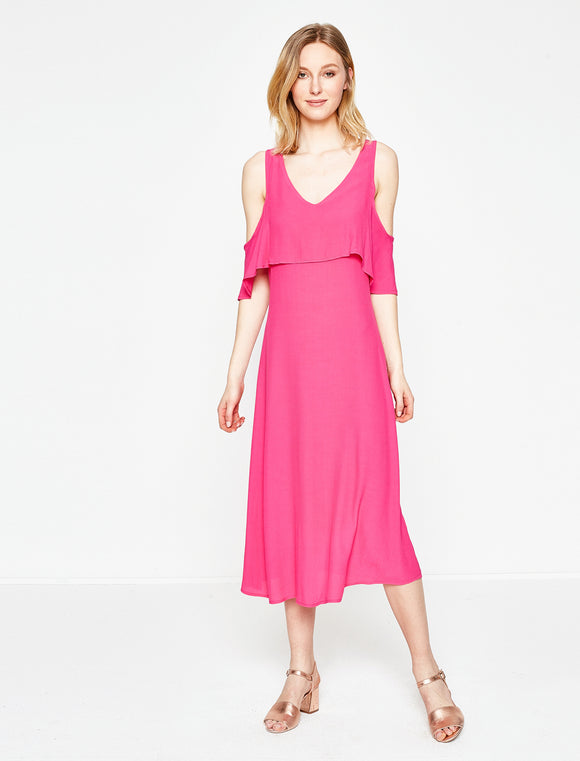 1212045 Fuschia Off-Shoulder Midi Dress