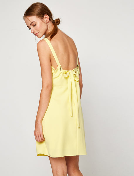 1212112 Yellow Spaghetti Strap Dress