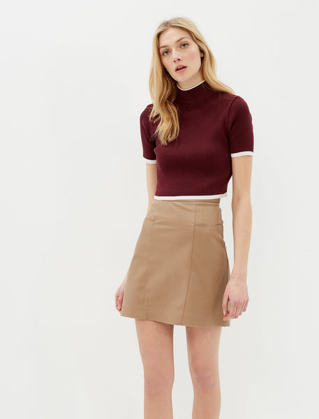 2912242 Brown Leather Look Skirt