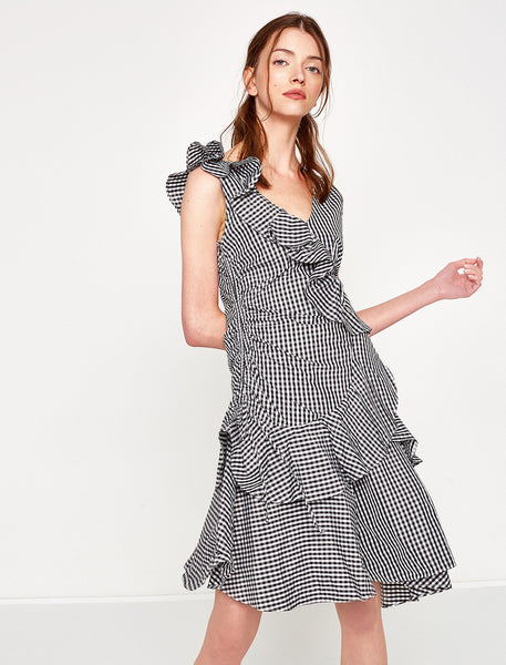 1212005 Black Check Ruffle Dress