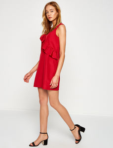 1212092 Red Ruffle Dress