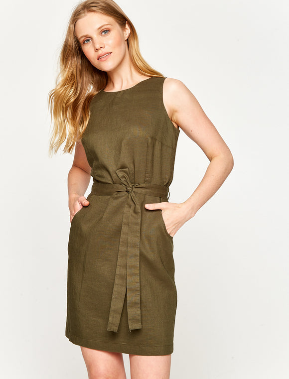 4512029 Khaki Belt Pencil Dress