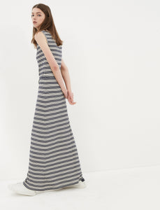 1212076 Navy Blue Striped Maxi Dress