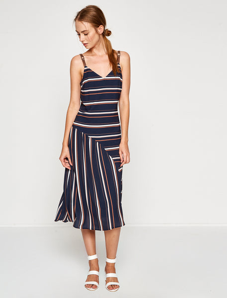 1212074 Navy Blue Striped Dress