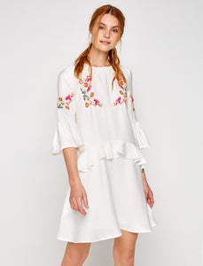 1212101 White Embroidered Dress